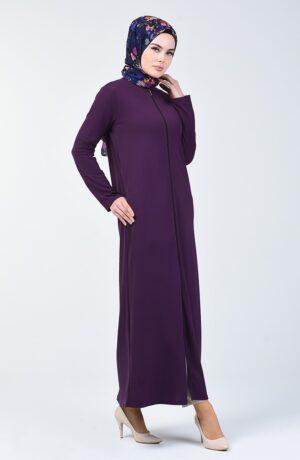 Abaya purpura con cremallera