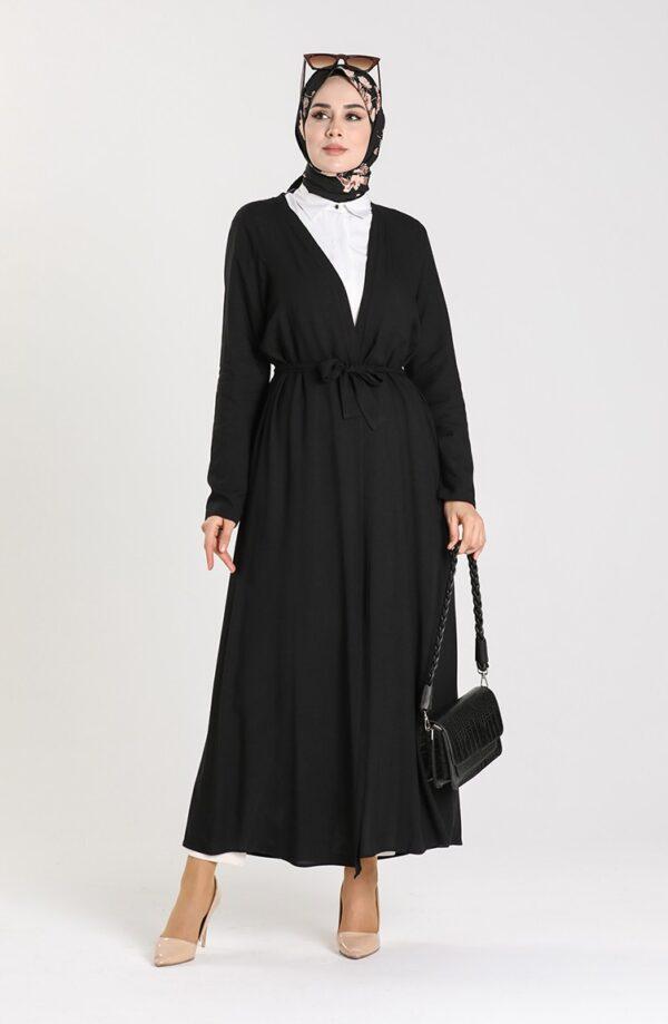 abaya negra sencilla