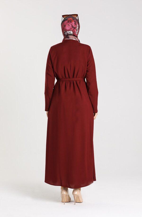 abaya rojo claret espalda