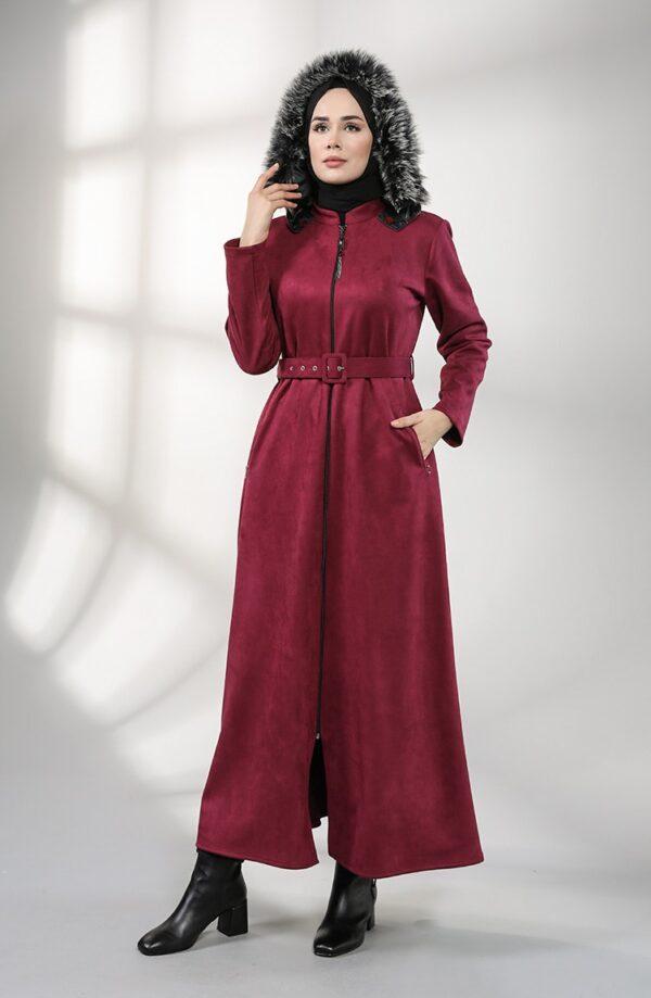 abrigo moda musulmana ciruela