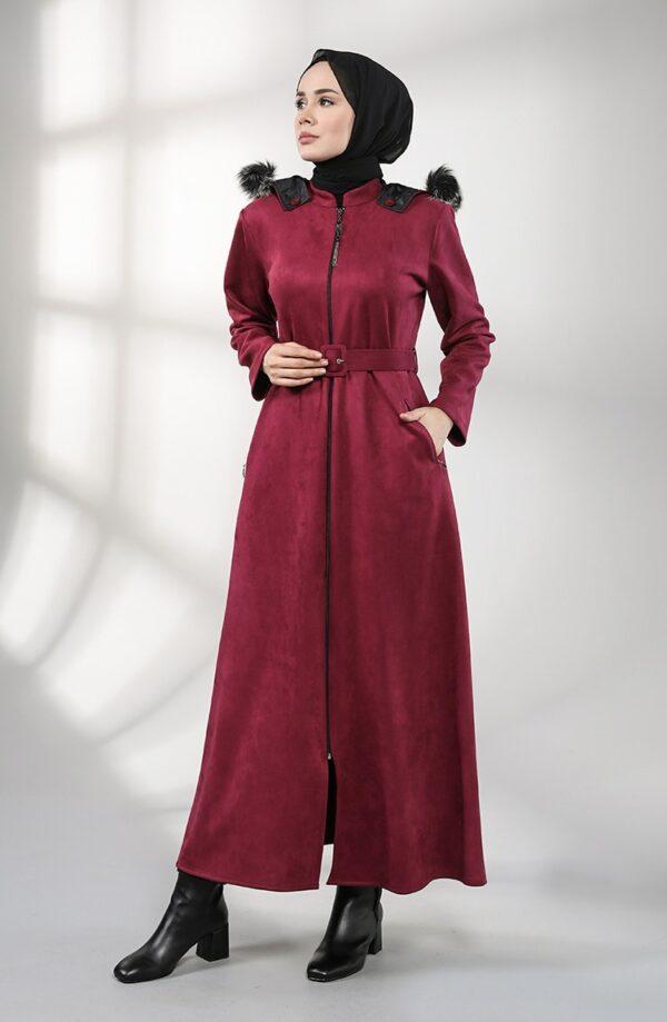 abrigo moda musulmana ciruela con capucha