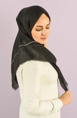 hijab negro rayas
