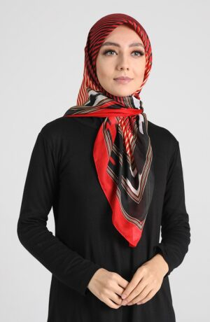 hijab arabe rojo rayas